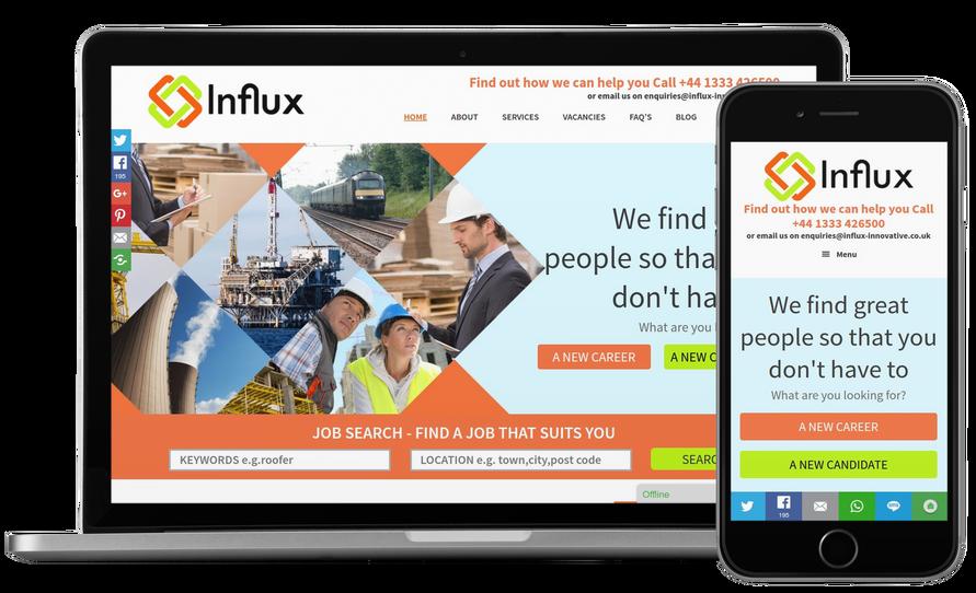 Influx Recruitment Website Design Web Design Manchester