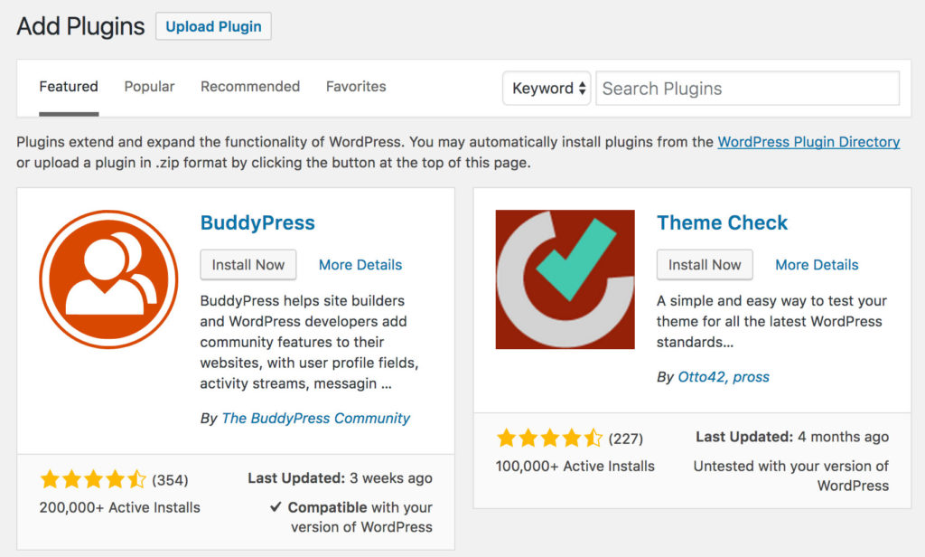 Search for WordPress plugins
