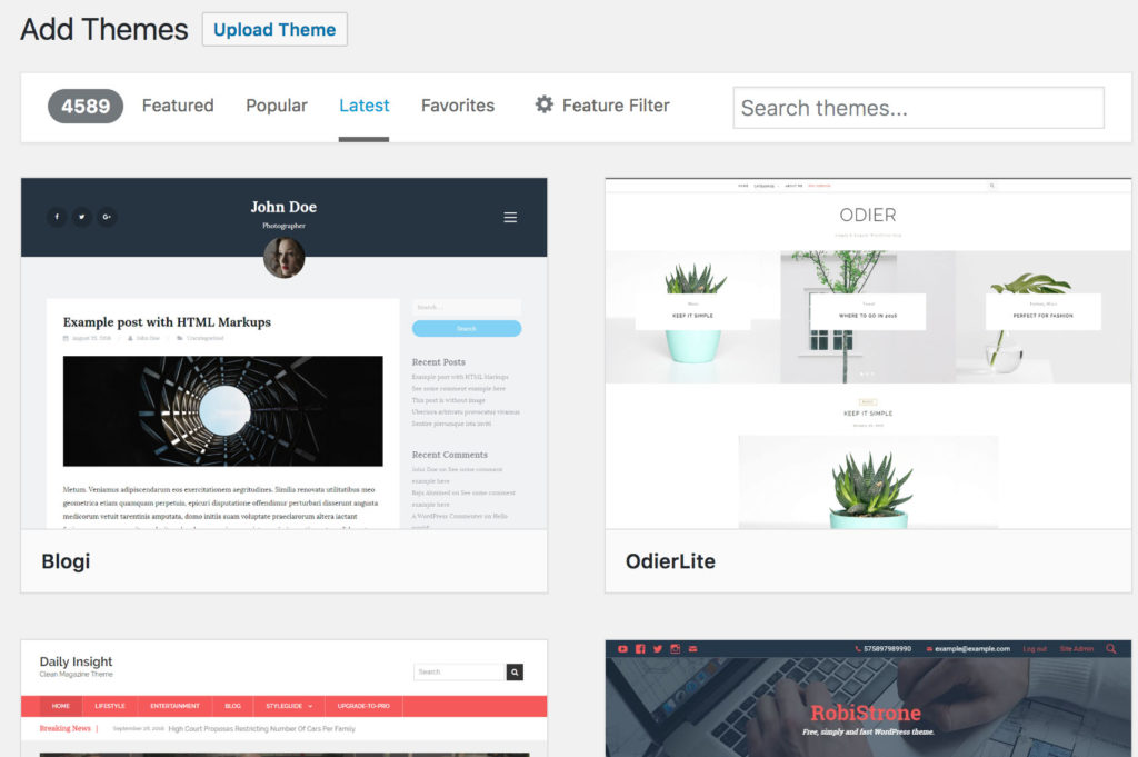 Search for WordPress themes