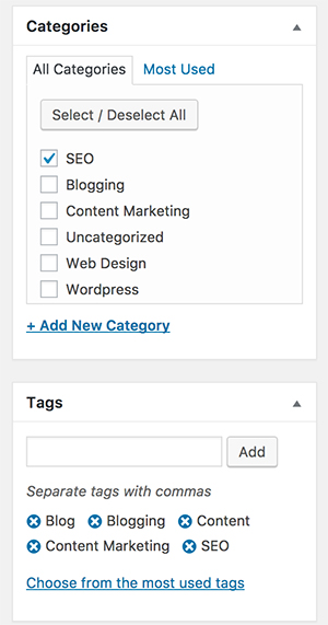 categories and tags wordpress seo