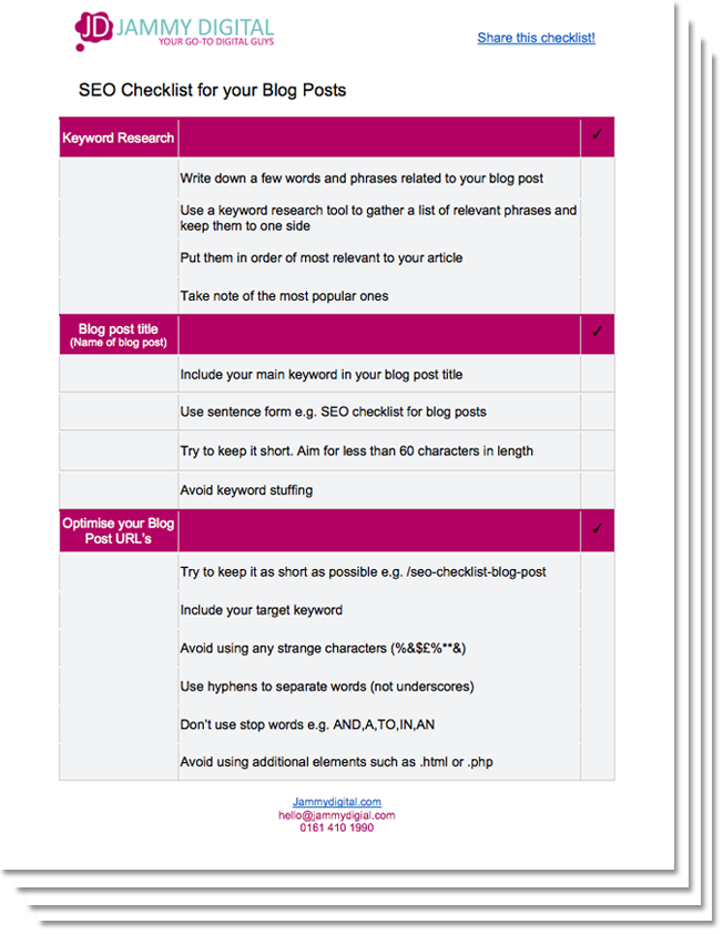 SEO Checklist Landing Page - Web Design Manchester