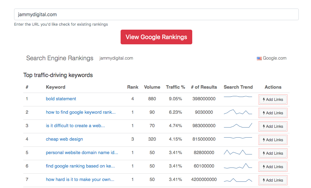 Screenshot of Jammy Digital Search Engine Rankings Results
