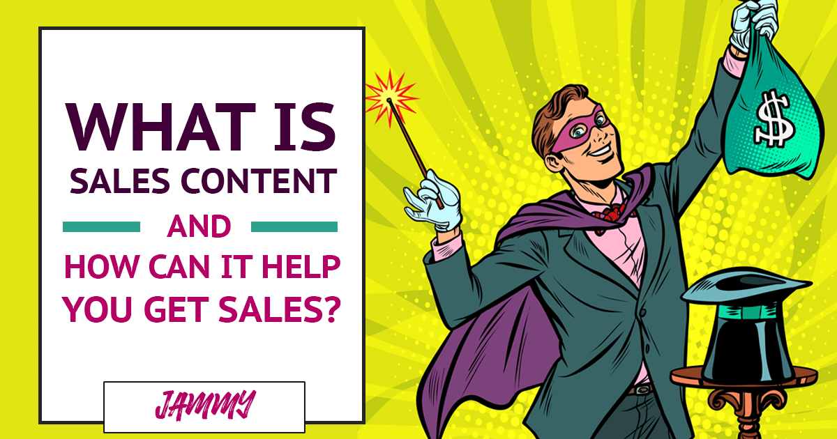 Magician with a Bag Of Money next to the Test: 'What is Sales Content?'